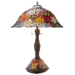 Tiffany-style Rosie Double Lit Table Lamp