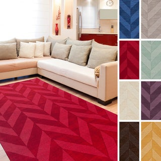 Artistic Weavers Hand-woven Ann Tone-on-Tone Geometric Zig-zag Wool Area Rug (2' x 3')