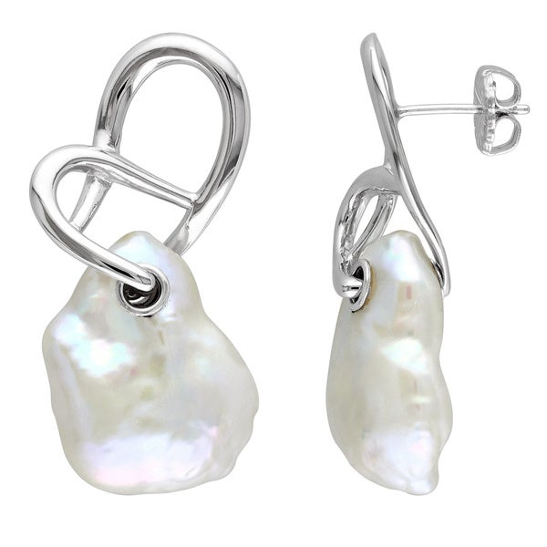 Miadora Sterling Silver Freshwater Baroque Pearl Earrings (14-15 mm)