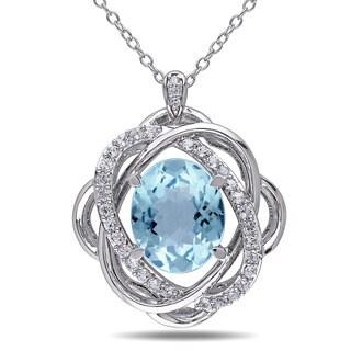 Miadora Silver 7ct TGW Blue and White Topaz and Diamond Accent Necklace