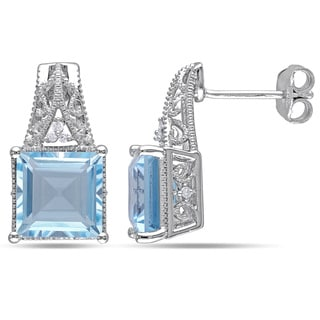 Miadora Sterling Silver 6ct TGW Blue Topaz and Diamond Accent Stud Earrings