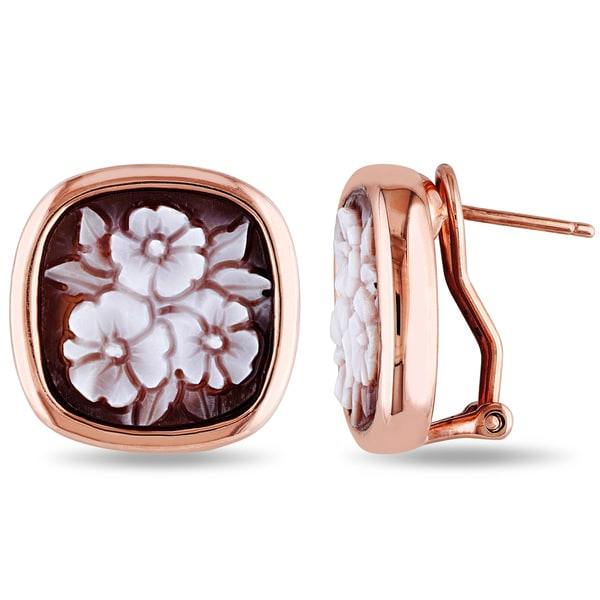 Miadora Rose Plated Silver Cameo Stud Earrings