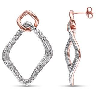 Haylee Jewels Two-tone Silver 1/6ct TDW Diamond Earrings (H-I, I2-I3)