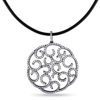 Miadora Sterling Silver Cubic Zirconia Circle Necklace