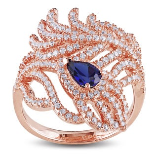 Miadora Rose Plated Silver Simulated Tanzanite and Cubic Zirconia Ring