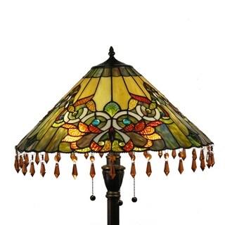 Tiffany-style Floral Swirl Beaded 3-light Floor Lamp