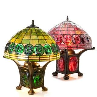 Tiffany-style Mika Turtleback Double-lit Table Lamp