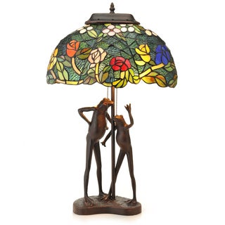 Tiffany-Style Love Frogs Table Lamp