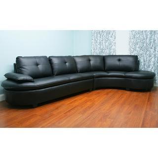 Abigal Black Bonded Leather Sectional Set