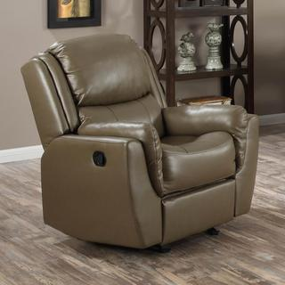 Aldo Acorn Brown Bonded Leather Reclining Chair