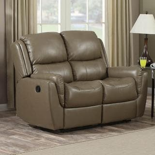 Aldo Acorn Brown Bonded Leather Reclining Loveseat