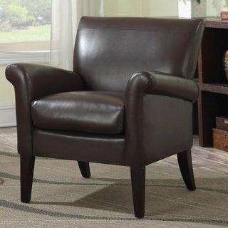 Fiona Brown Bonded Leather Modern Accent Chair