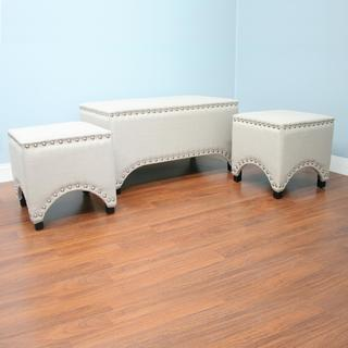 Mercer Beige Nail-head Trim Bench and Ottoman 3-piece Set