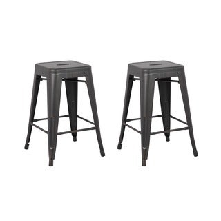 Vintage Industrial 24-inch Backless Stools (Set of 2)