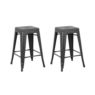 Black Vintage Industrial 24-inch Backless Stools (Set of 2)