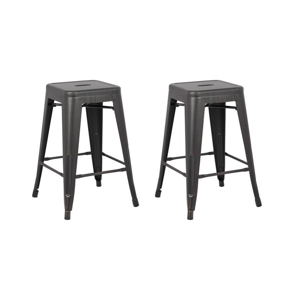 Vintage Industrial 24 Inch Backless Stools Set Of 2
