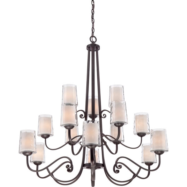 Adonis 15-light Dark Cherry Tiered Chandelier