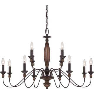Holbrook 12-light Tuscan Brown 2-tier Chandelier