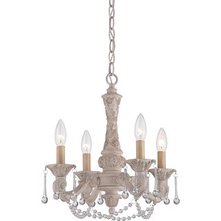Quoizel Hope Antique Ivory 4-light Mini Chandelier