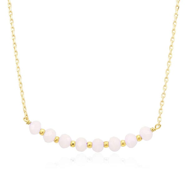 18k Goldplated Bead and Rose Crystal Necklace