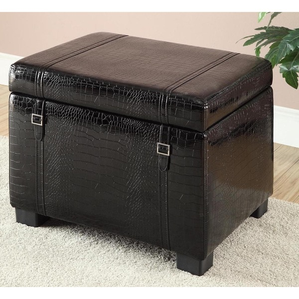 Black Croc-embossed Faux Leather Storage Ottoman