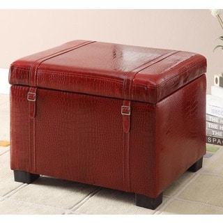 Red Croc-embossed Faux Leather Storage Ottoman