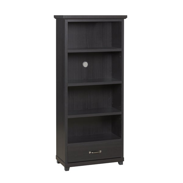 Dark Espresso 4-shelf Bookcase with Drawer