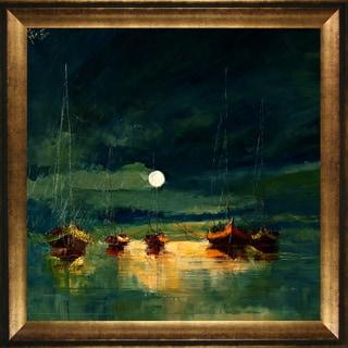 Justyna Kopania 'Boats (with moon)' Framed Print Art