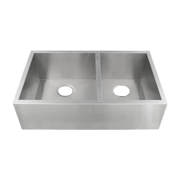 Stainless Steel Undermount Farmhouse Sink : 33-inch Stainless Steel 16-gauge Undermount Double Bowl Farmhouse ...