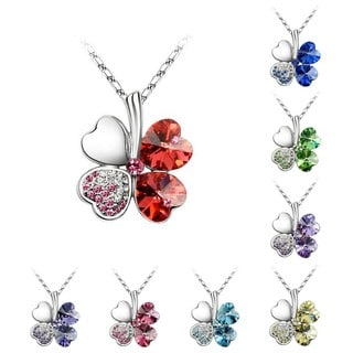 Princess Ice Platinum-pated Lucky 4-heart Leaf Clover Crystal Pendant Necklace