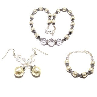 Off-white Pearlized Crystal Pearl 3-piece Wedding Jewelry Set