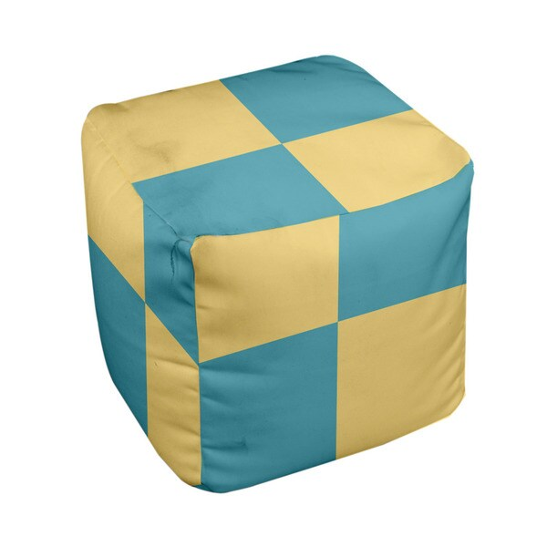 13 x 13-inch Lemon Large Check Print Decorative Pouf