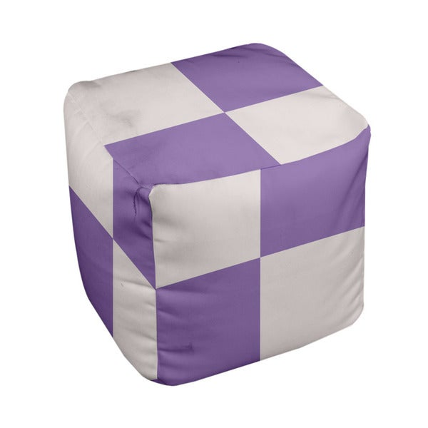 13 x 13-inch Cream Large Check Print Decorative Pouf