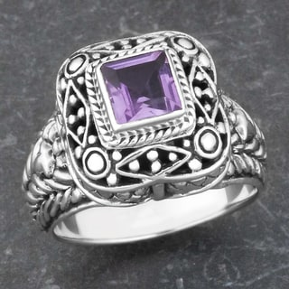 Sterling Silver Amethyst 'Balinese Cawi' Cocktail Ring (Indonesia)
