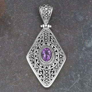 Sterling Silver Amethyst 'Balinese Gust' Pendant (Indonesia)