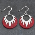 Sterling Silver Red Coral 'Sunburst' Earrings (Thailand)
