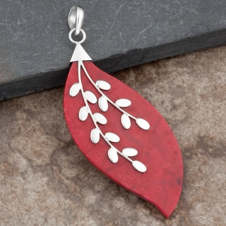 Sterling Silver Red Coral 'Leaf' Pendant (Thailand)