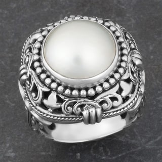Sterling Silver Freshwater Pearl 'Princess Fantasy' Dome Ring (Indonesia)