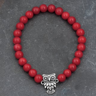 Sterling Silver Red Coral Stretch 'Owl' Bracelet (Thailand)