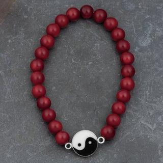 Sterling Silver Red Coral Stretch 'Yin Yang' Bracelet (Thailand)