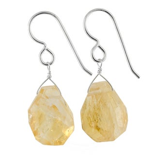Ashanti Sterling Silver Citrine Gemstone Handmade Earrings (Sri Lanka)