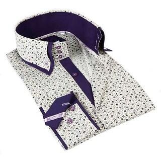 John Lennon Men's Off-white Floral and Purple Sport Shirt
