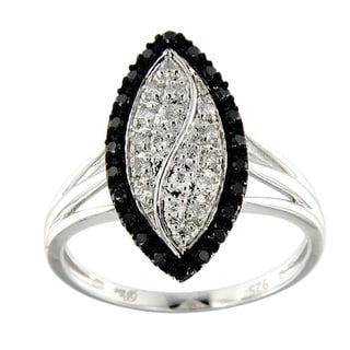 Pearlz Ocean Sterling Silver 3/8ct TDW Black and White Diamond Marquise Ring (H-I, SI1-SI2)
