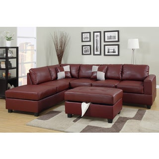 Lombardy Bonded Leather Sectional Sofa with Ottoman and Pillows