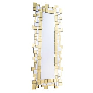 Somette Modern Clear and Goldtone Squares Mirror