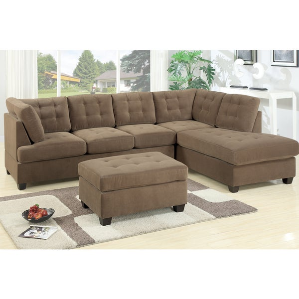Odessa waffle suede reversible sectional sofa 16595964 for Small sectional sofa overstock