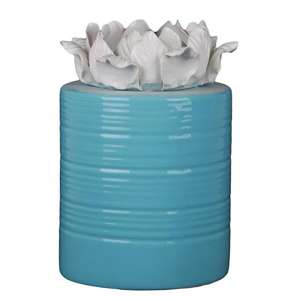 Blue/ White Medium Ceramic Vase with Flower