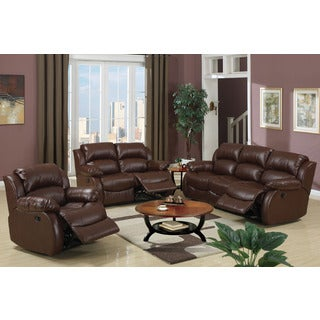Trani Recliner Motion Rich Brown Bonded Leather Living Room Set