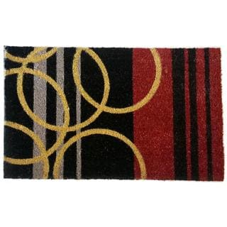 Stripes and Rings Geometric Coir Doormat