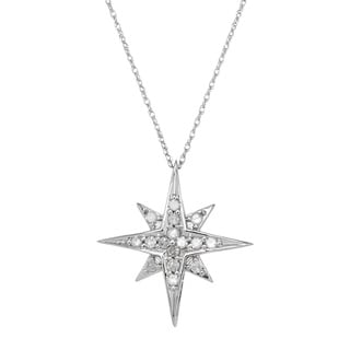 10k White Gold 1/4ct TDW Diamond Starburst Pendant Necklace (I-J, I2-I3)